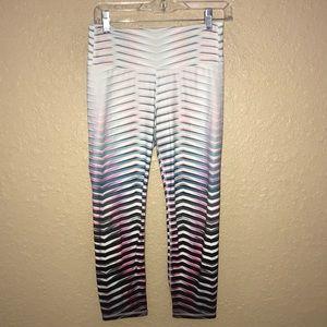 Sz S Athleta Pink Blue Stripe Crop Leggings